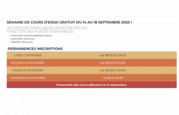 Semaine de Cours d'Essai GRATUIT du 14 au 18 septembre 2020 !