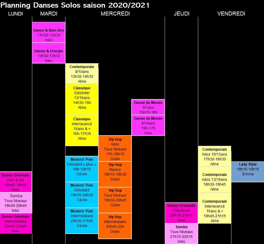 Planning Danses Solo